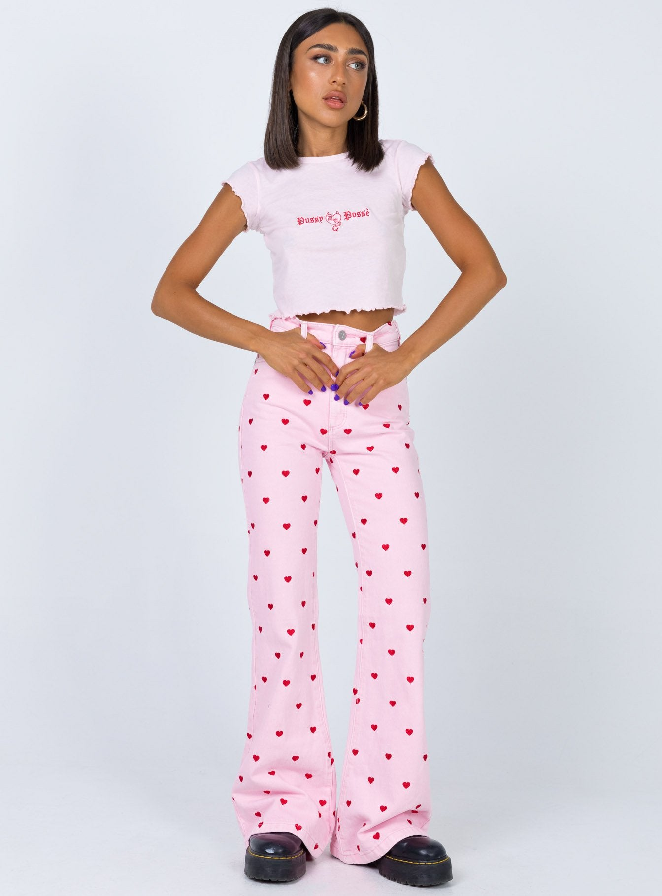 Abrand Double Oh Flare Jeans Pink Heart