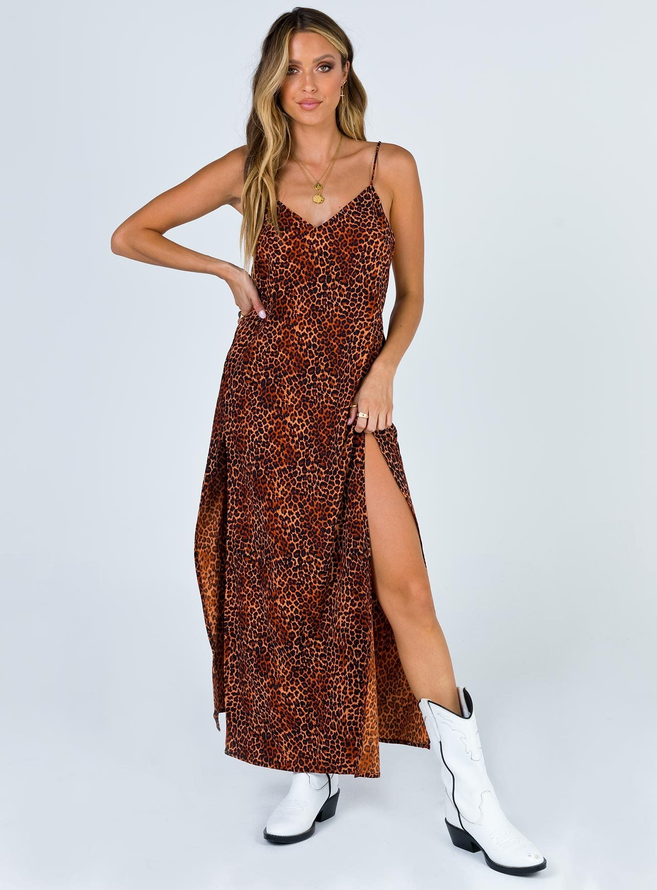 Motel Hime Dress Ditsy Leopard Orange