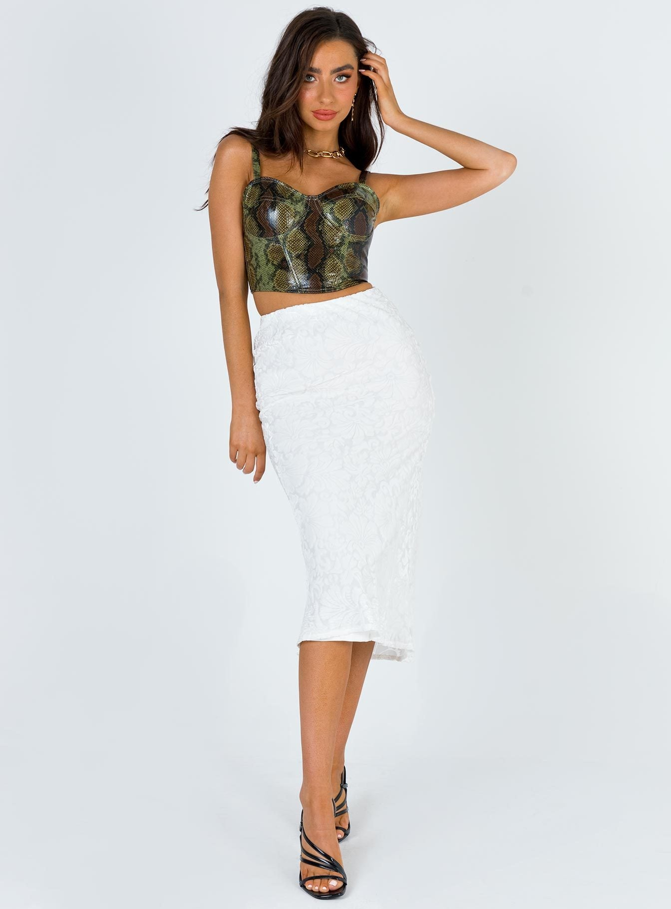 Miss Shiney Midi Skirt