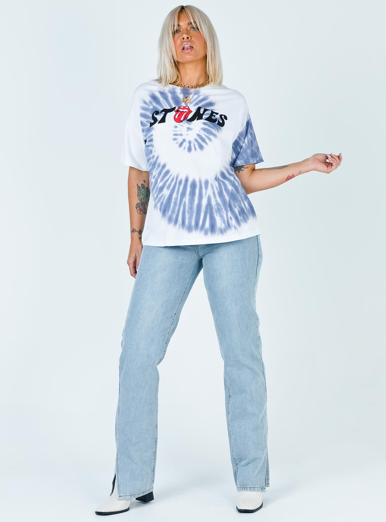 The Rolling Stones Tongue Tie Dye Tee White
