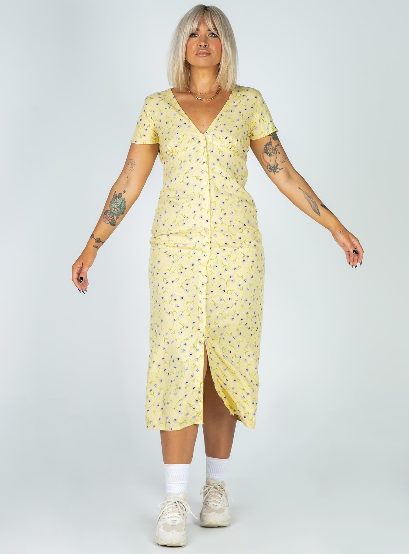 Motel Larin Midi Dress Wild Flower Lemon Drop