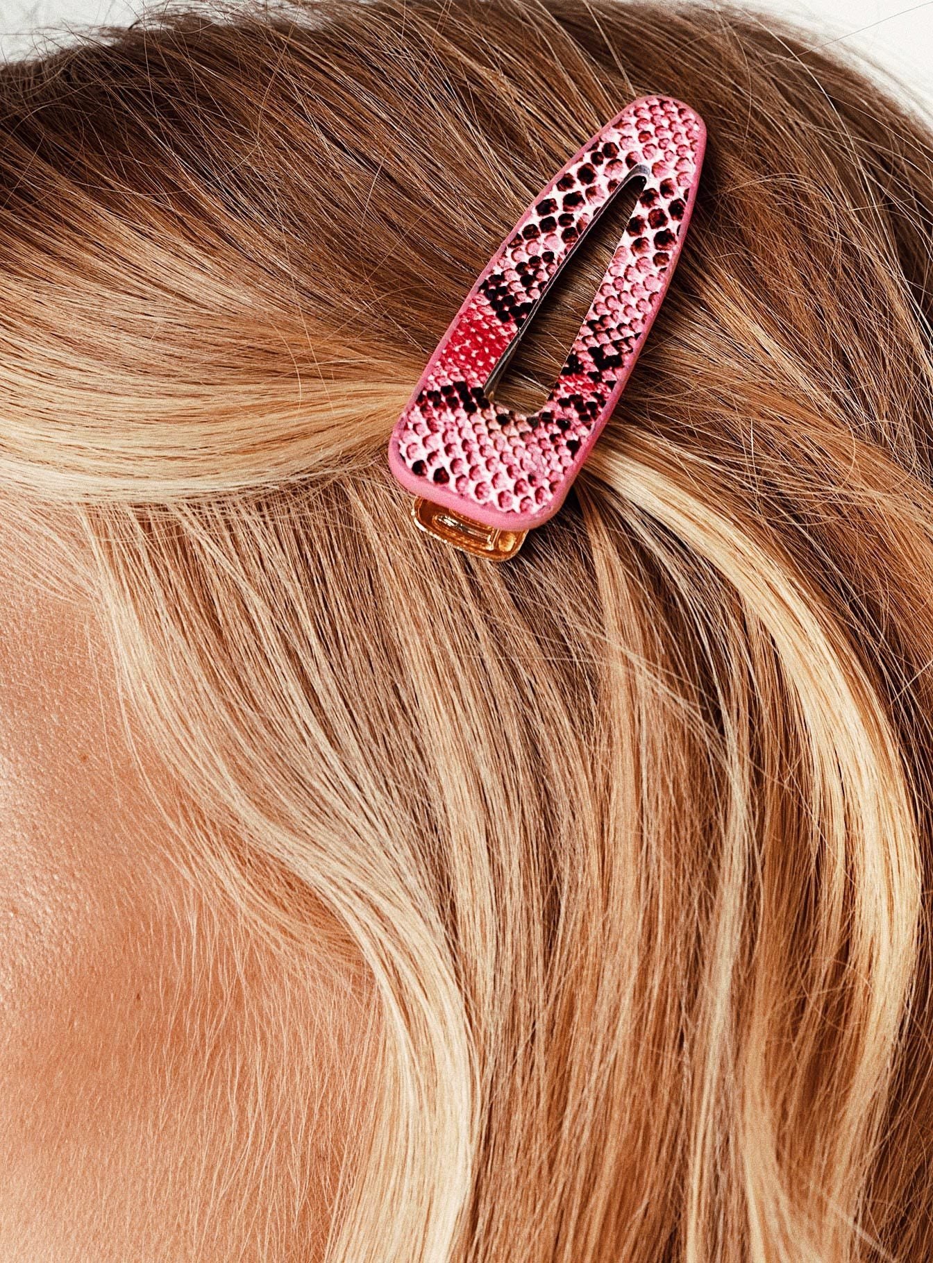 The Anna Hair Clip Pink Snake