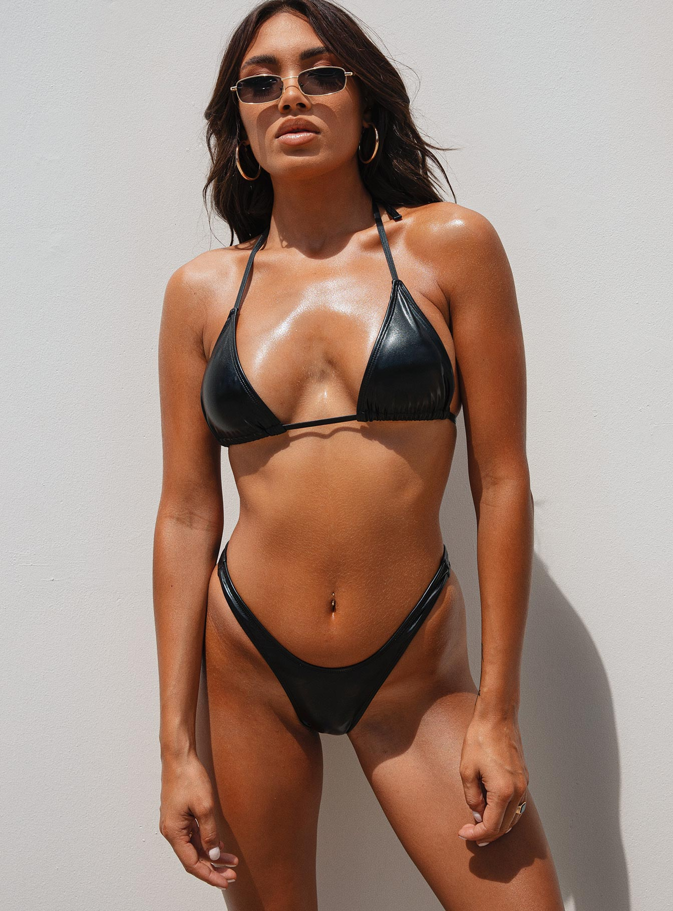 Motel Farida Bikini Bottom Black Coated Wet Look