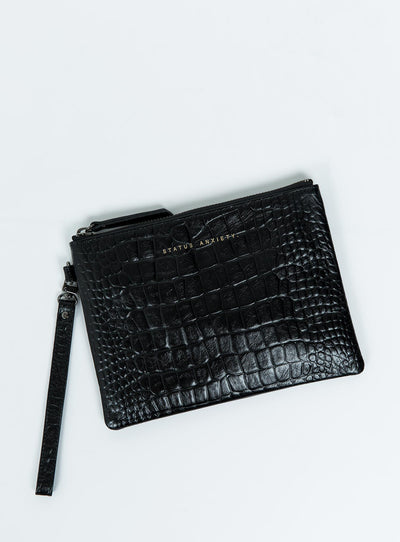 Status Anxiety Black Croc Emboss Fixation Clutch