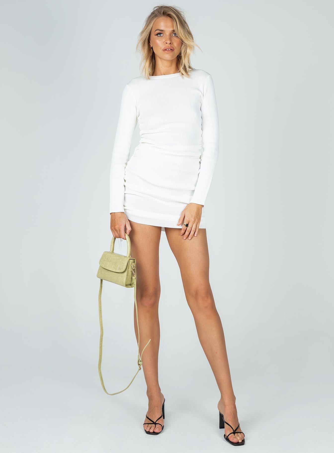 Military Minds Long Sleeve Mini Dress White