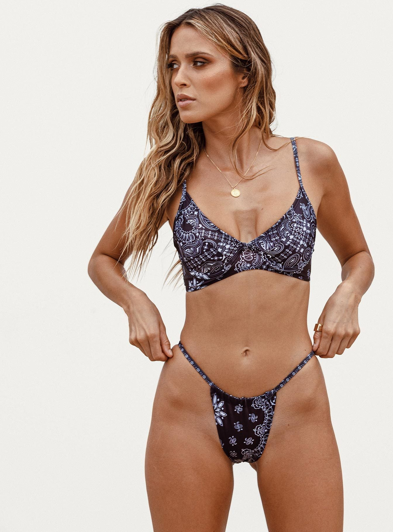black paisley bikini crop top (set) | sheoak