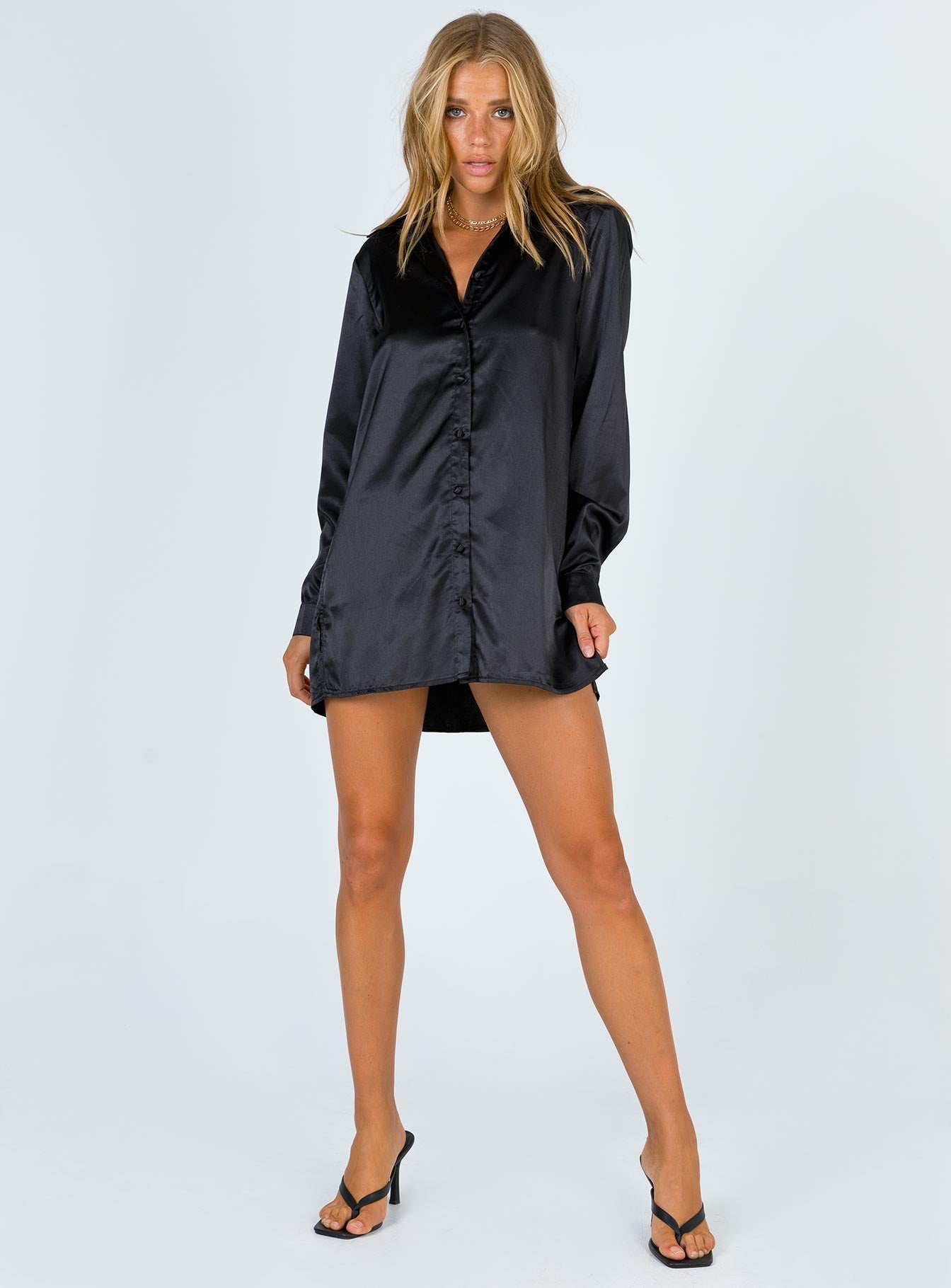 90210 Satin Shirt Mini Dress Black