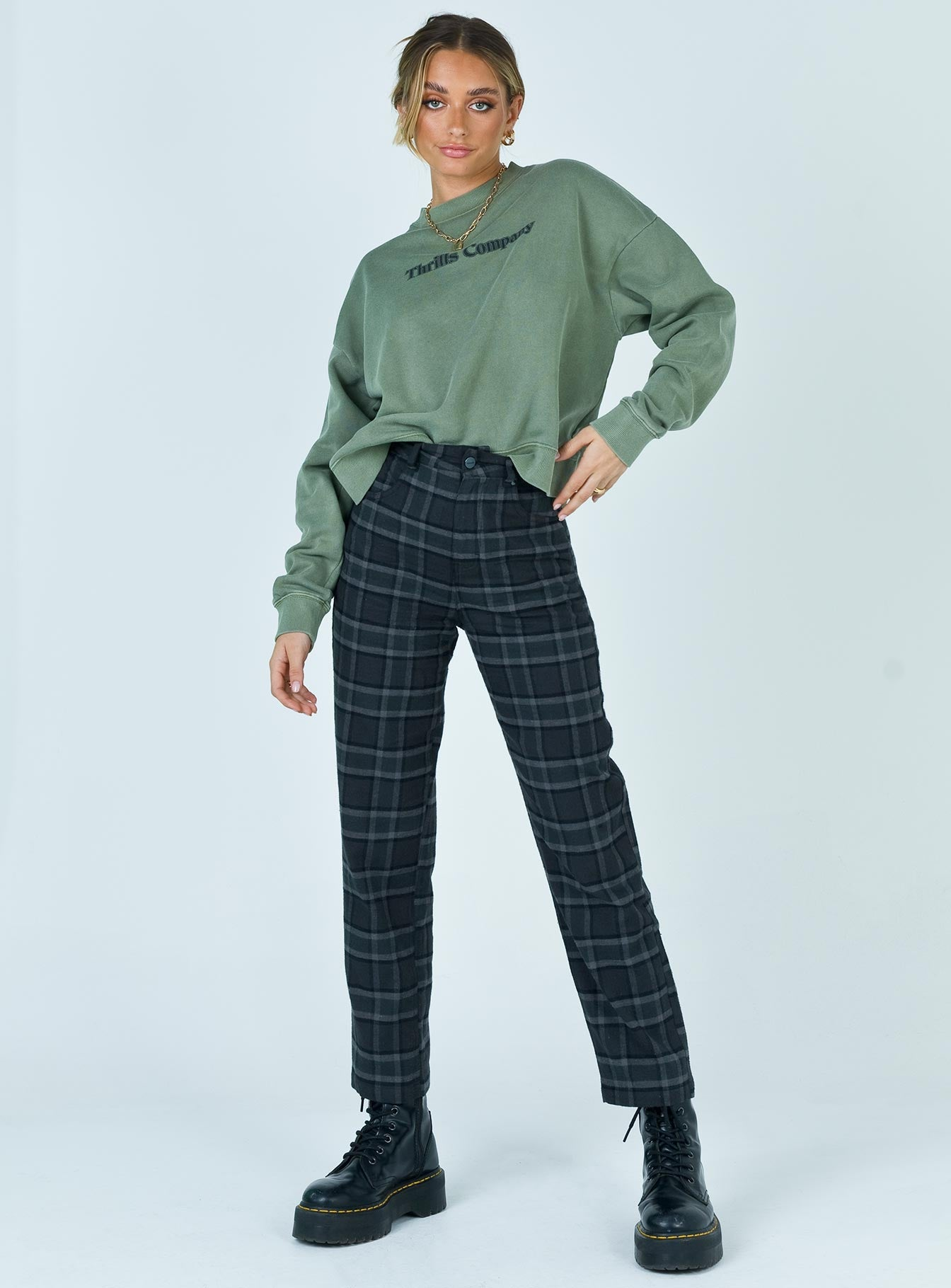 Afends Shelby Alice Hemp Check Wide Leg Pants Gunmetal