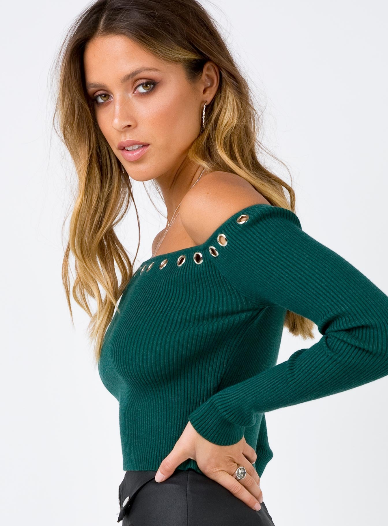 Hole Hearted Ribbed Top Green