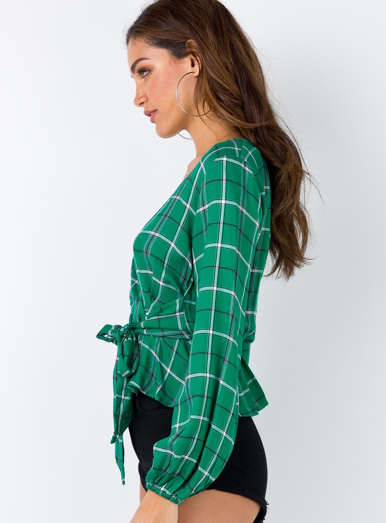 Minkpink Plaid Long Sleeve Tie Top Green