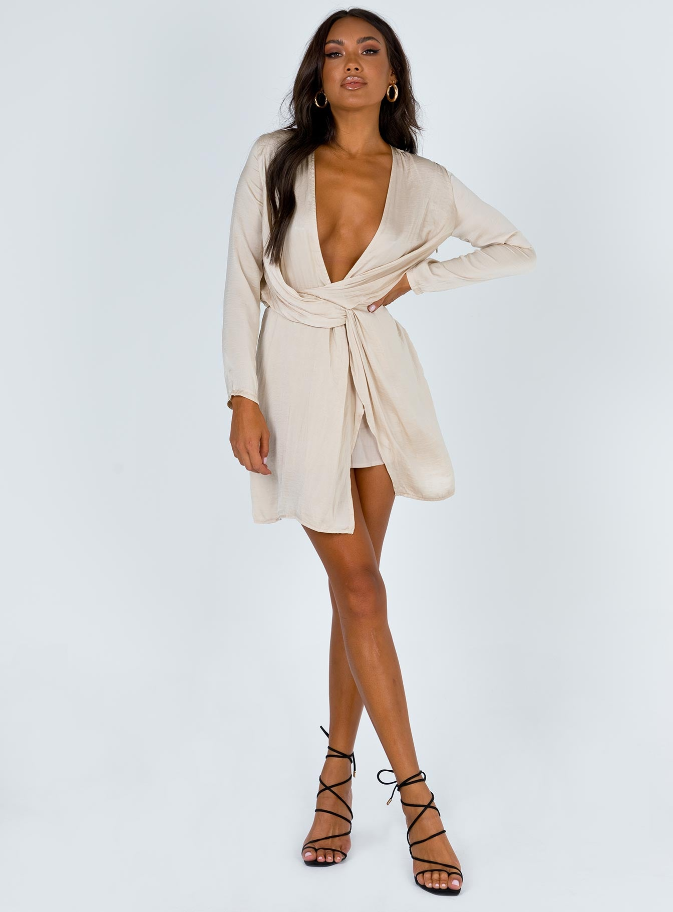 Feast Of Feathers Mini Dress Beige