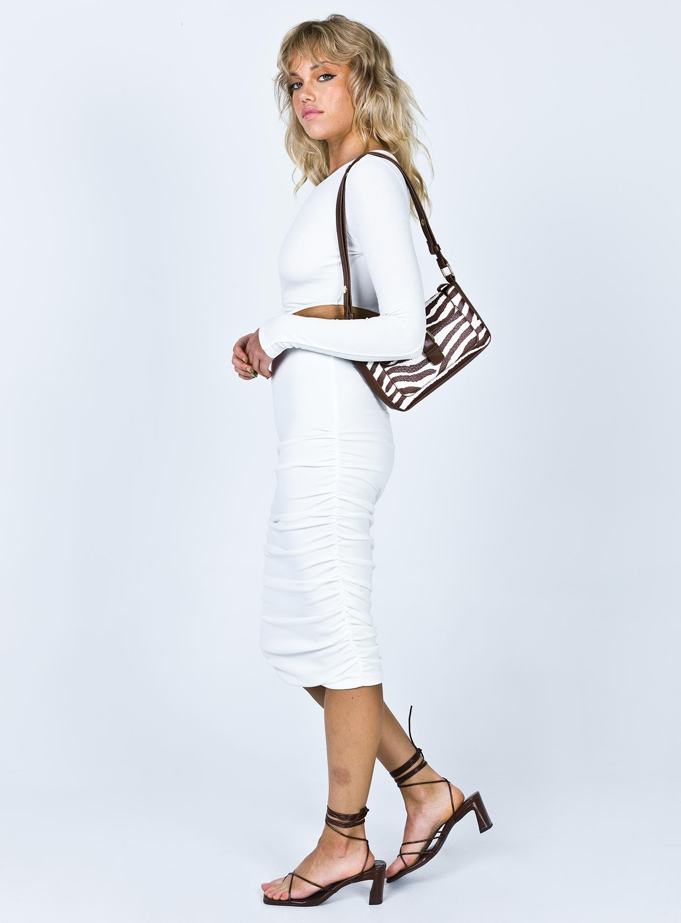 Oriana Long Sleeve Midi Dress White