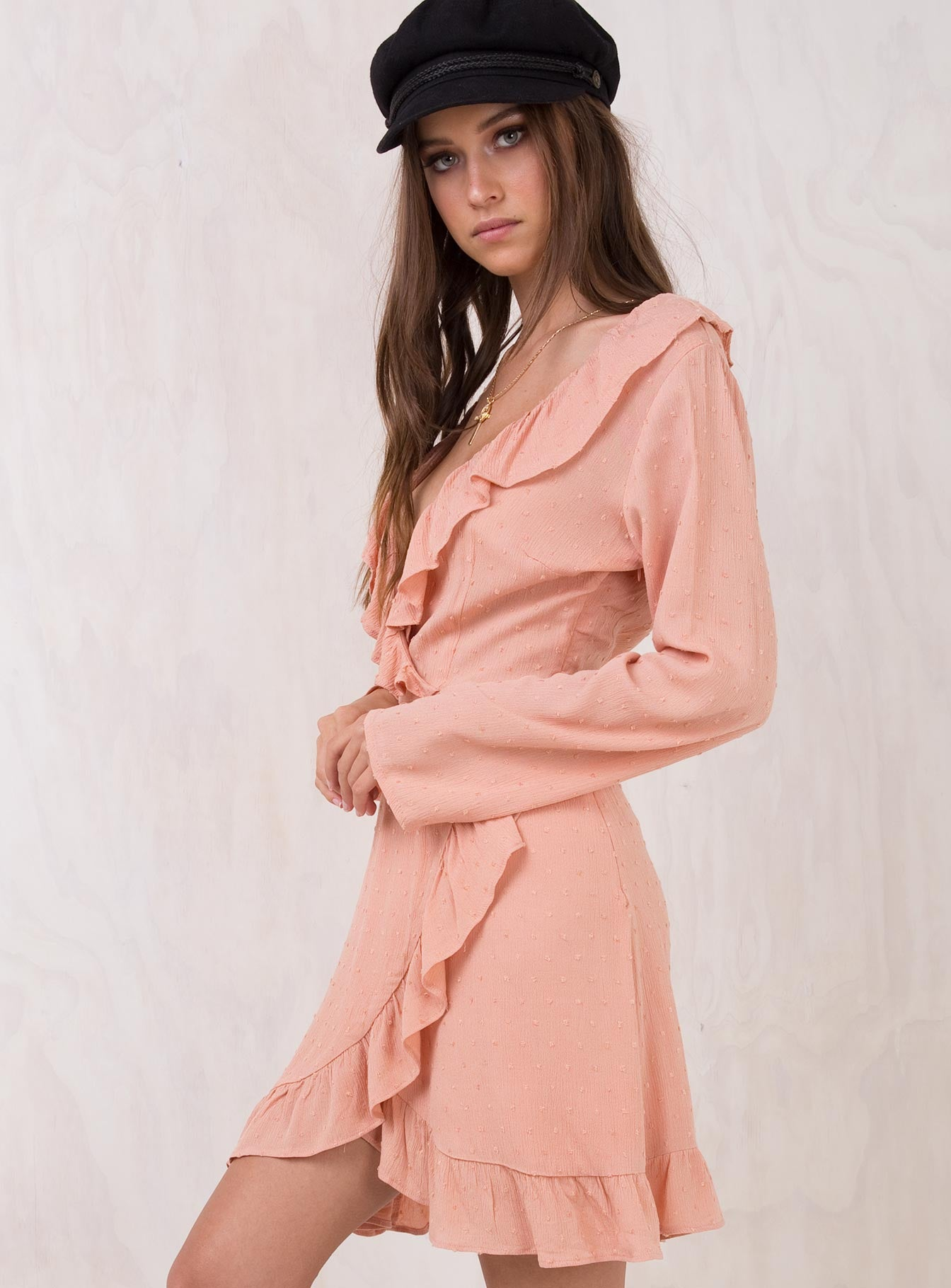 Baby Doll Ruffle Wrap Dress