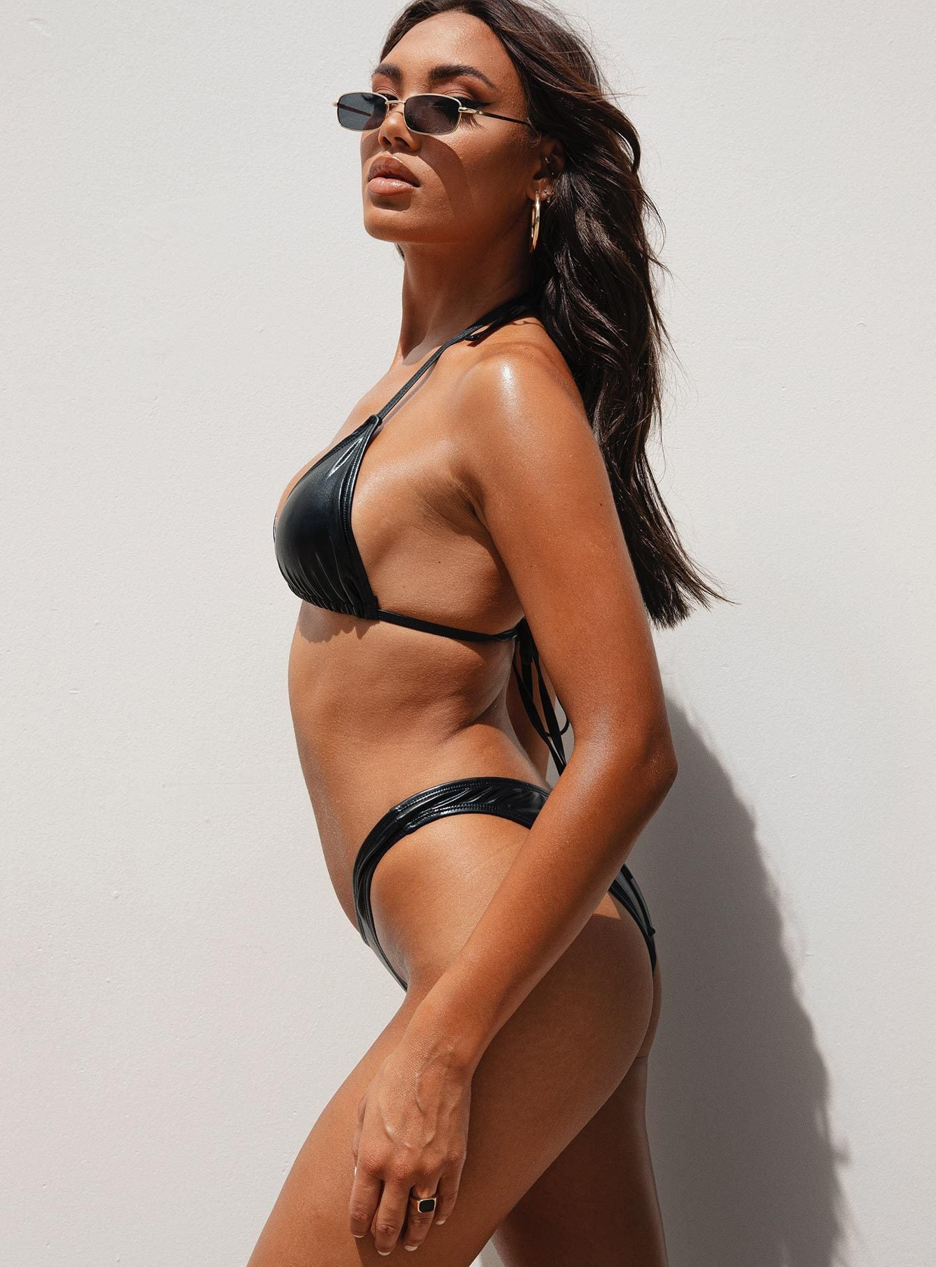 Motel Meeka Bikini Top Black Coated Wet Look