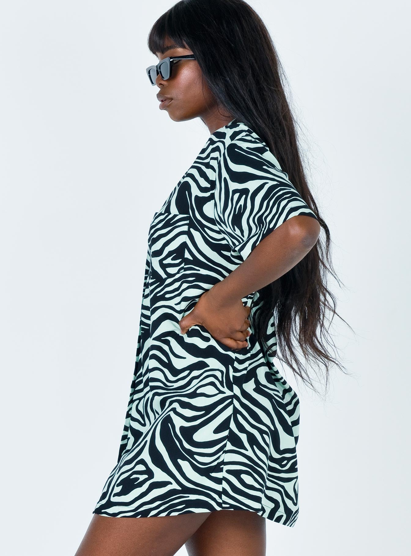 Motel Fresia Dress Wavey Zebra Mint