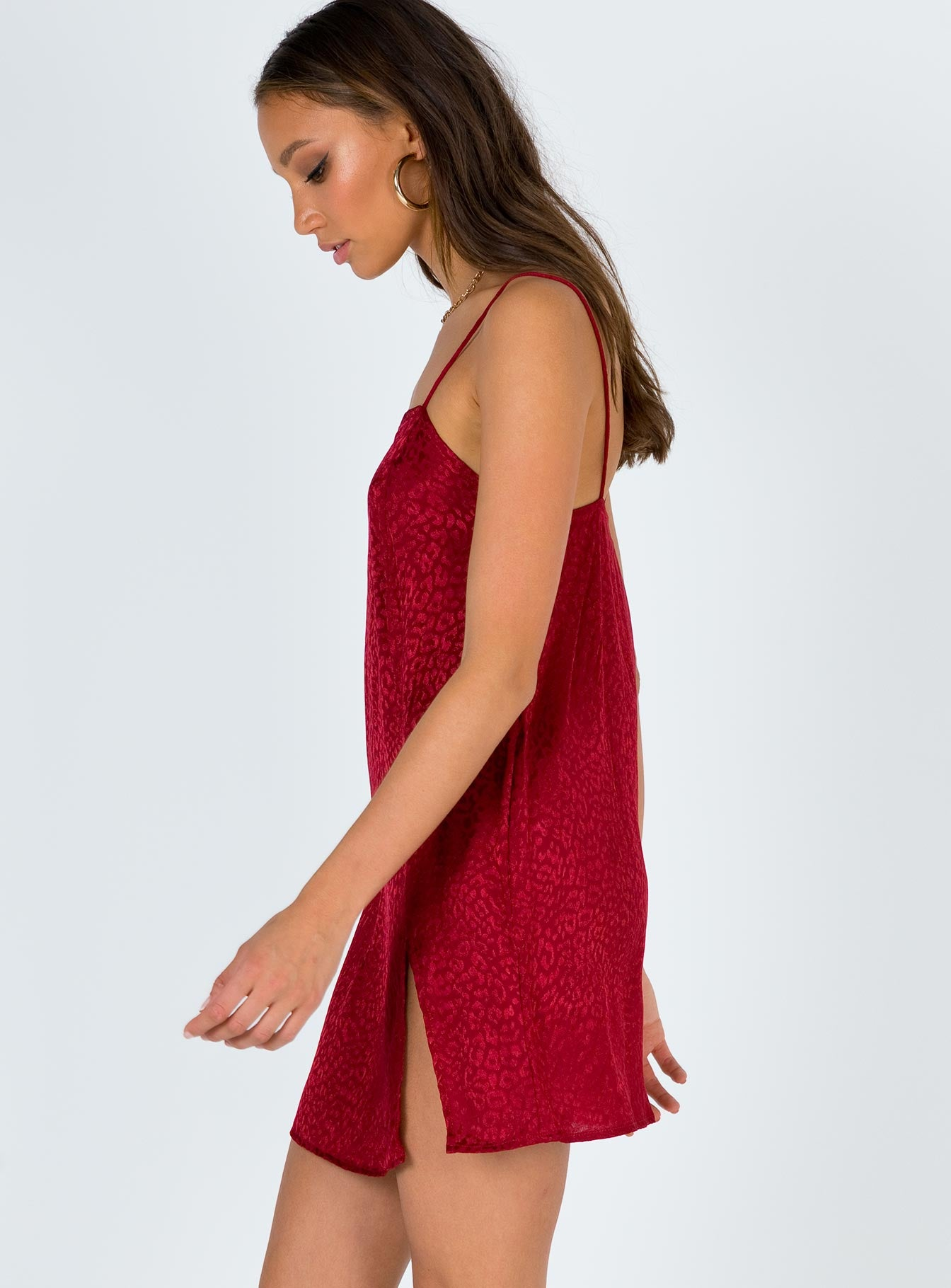 Motel Datista Slip Dress Satin Cheetah Raspberry