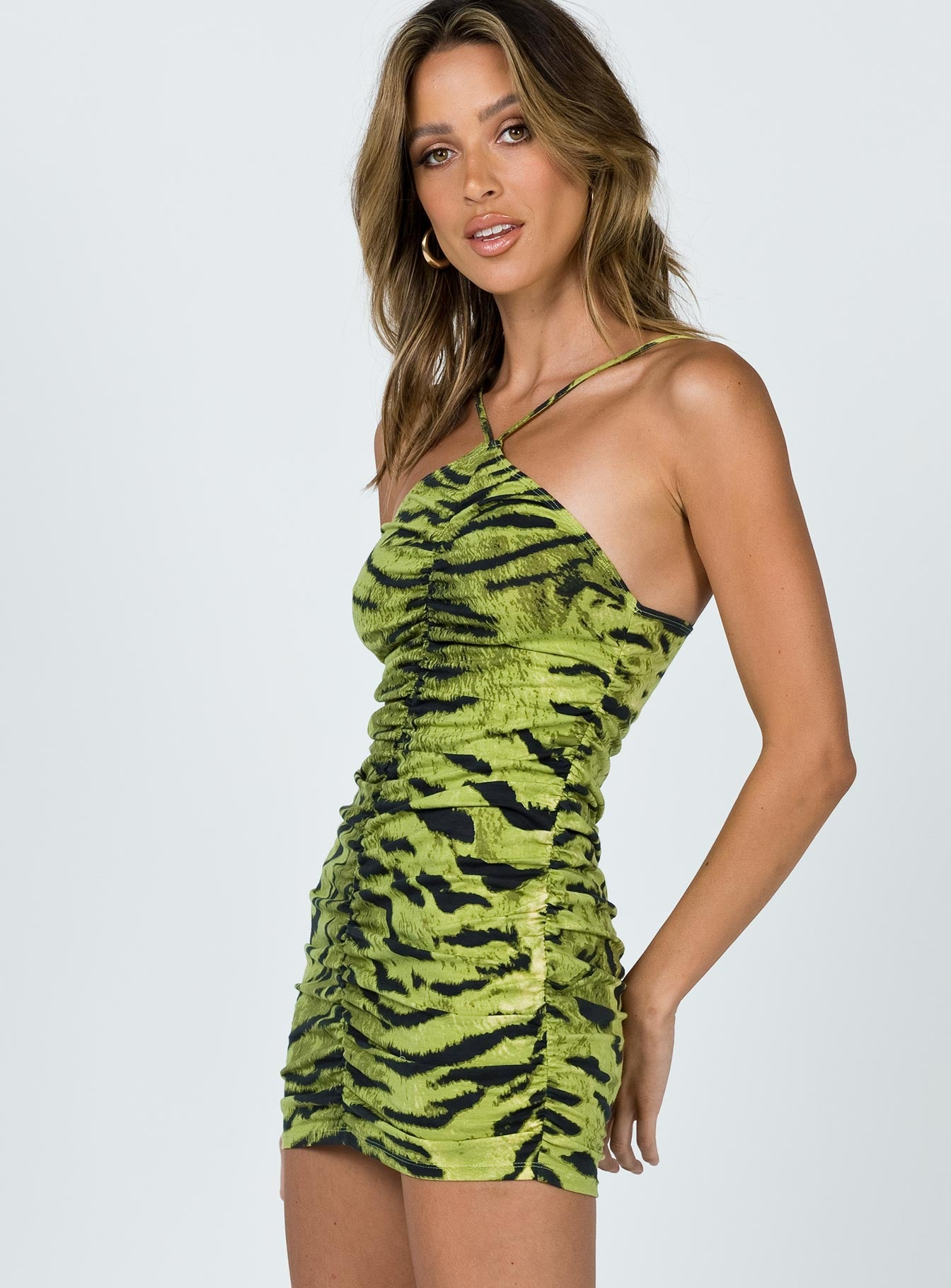 Motel Larasati Mini Dress Tiger Khaki