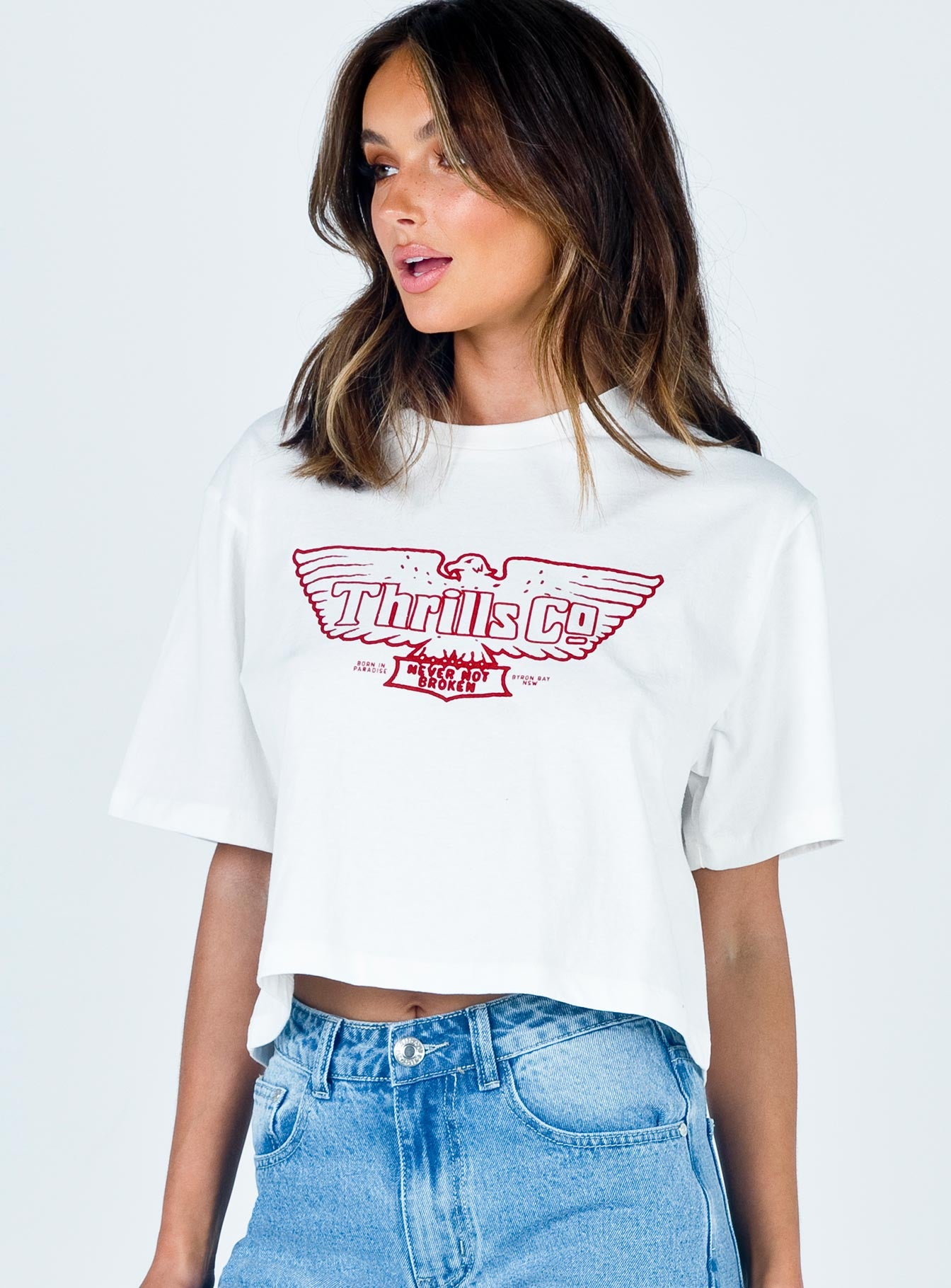 Thrills Eagle Badge Crop Tee