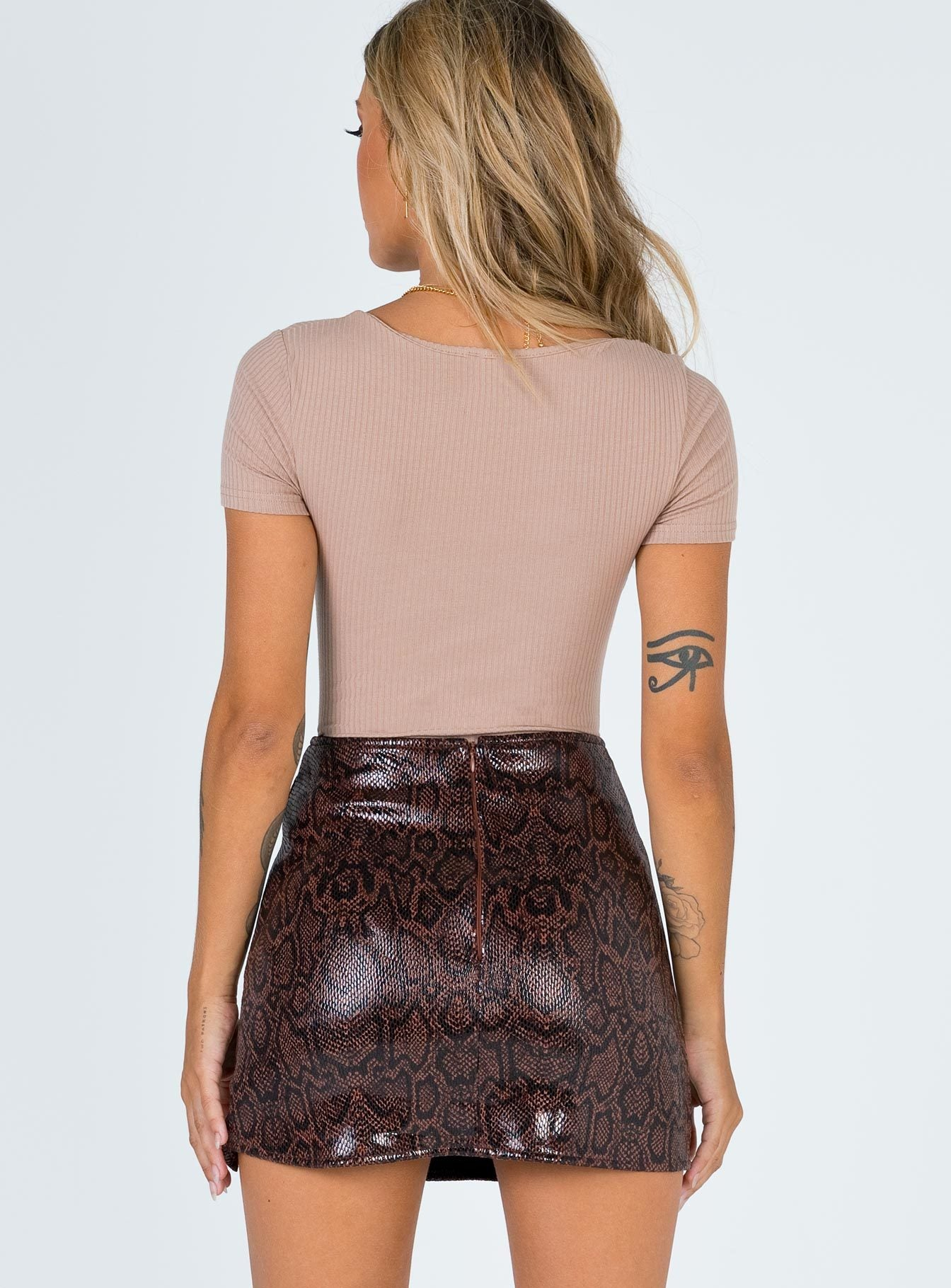 Motel Wren Mini Skirt Brown Snake