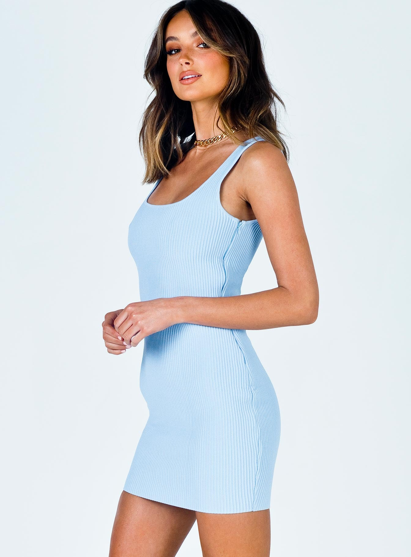 The Gracie Knit Mini Dress Blue