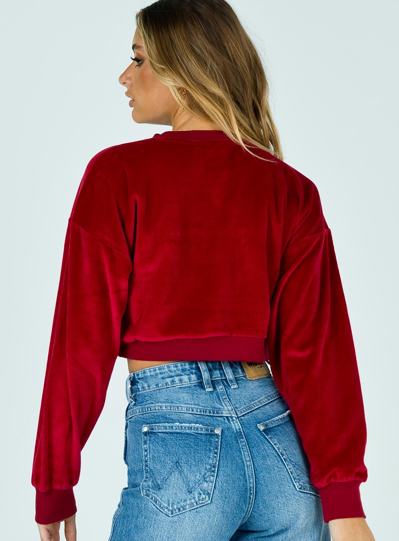 Abrand A Oversized Cropped Sweater Ruby Red