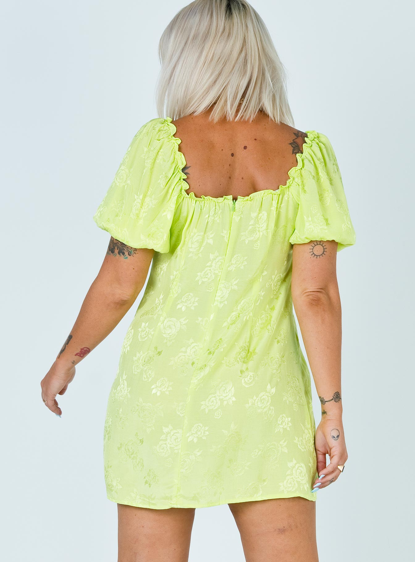 Motel Mentari Mini Dress Lime