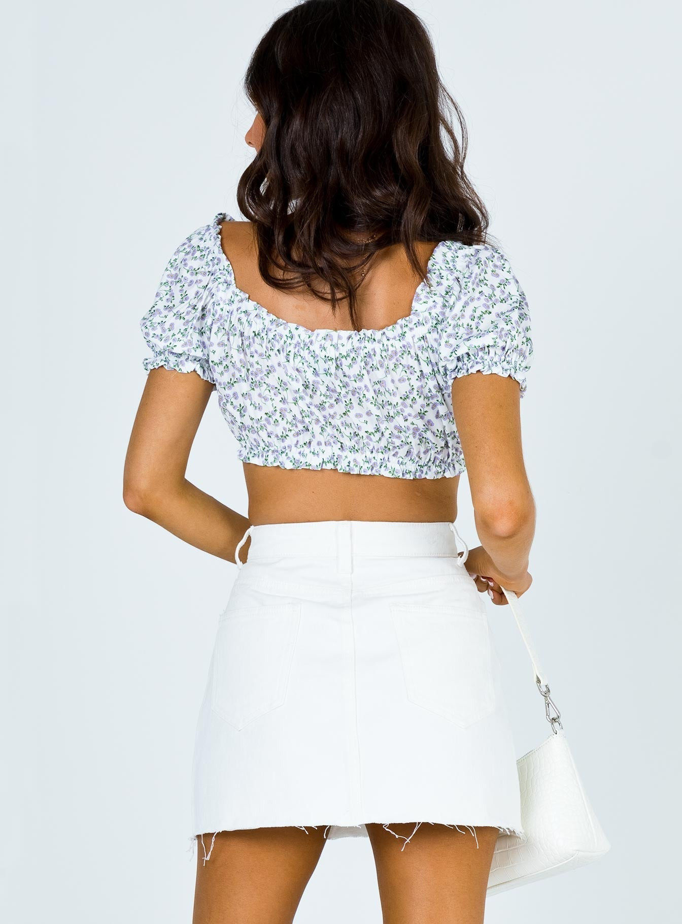 Hallie Denim Mini Skirt White