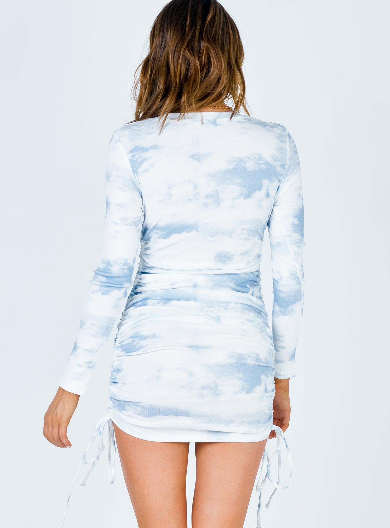 Military Minds Long Sleeve Mini Dress Baby Blue