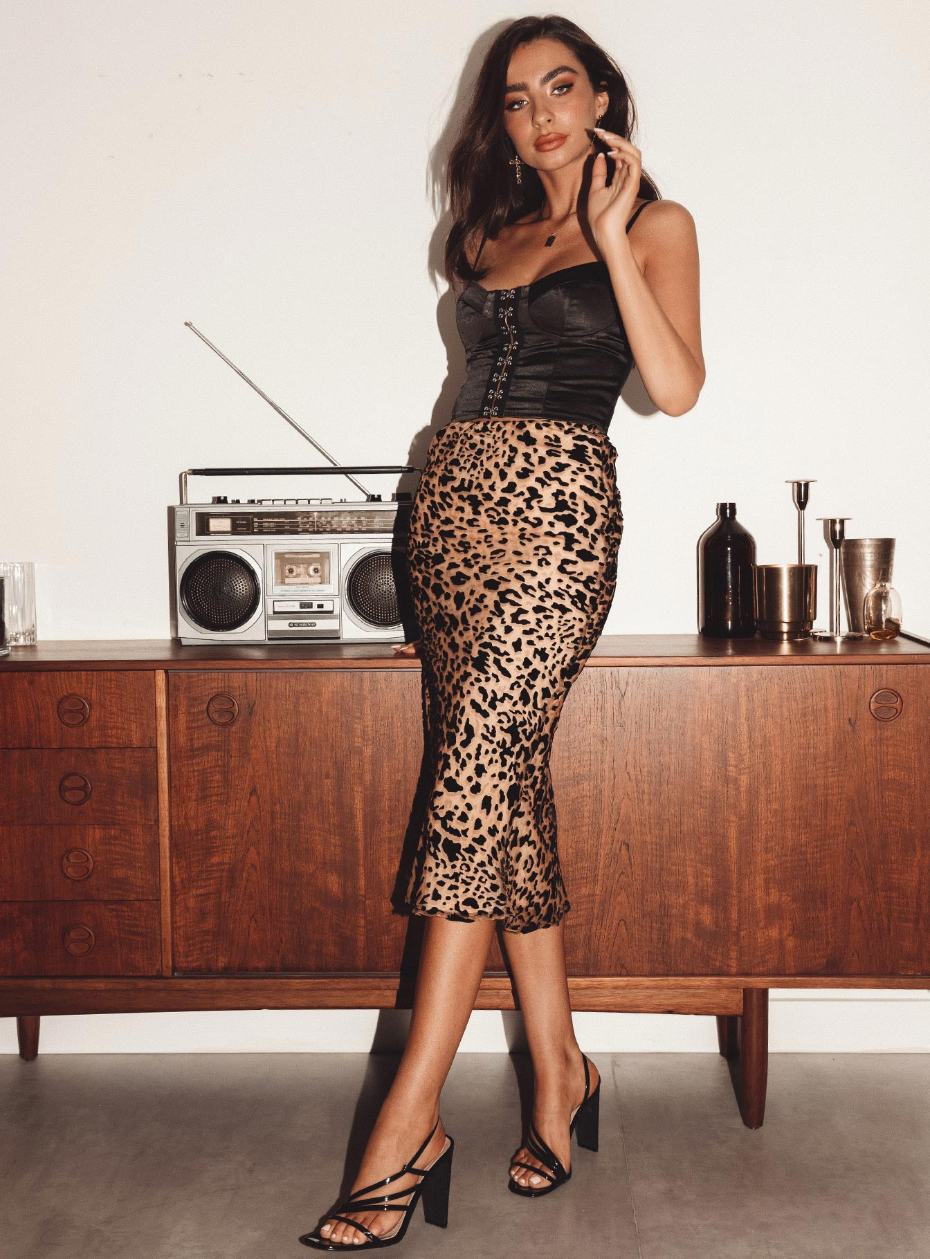 Miss Shiney Leopard Midi Skirt