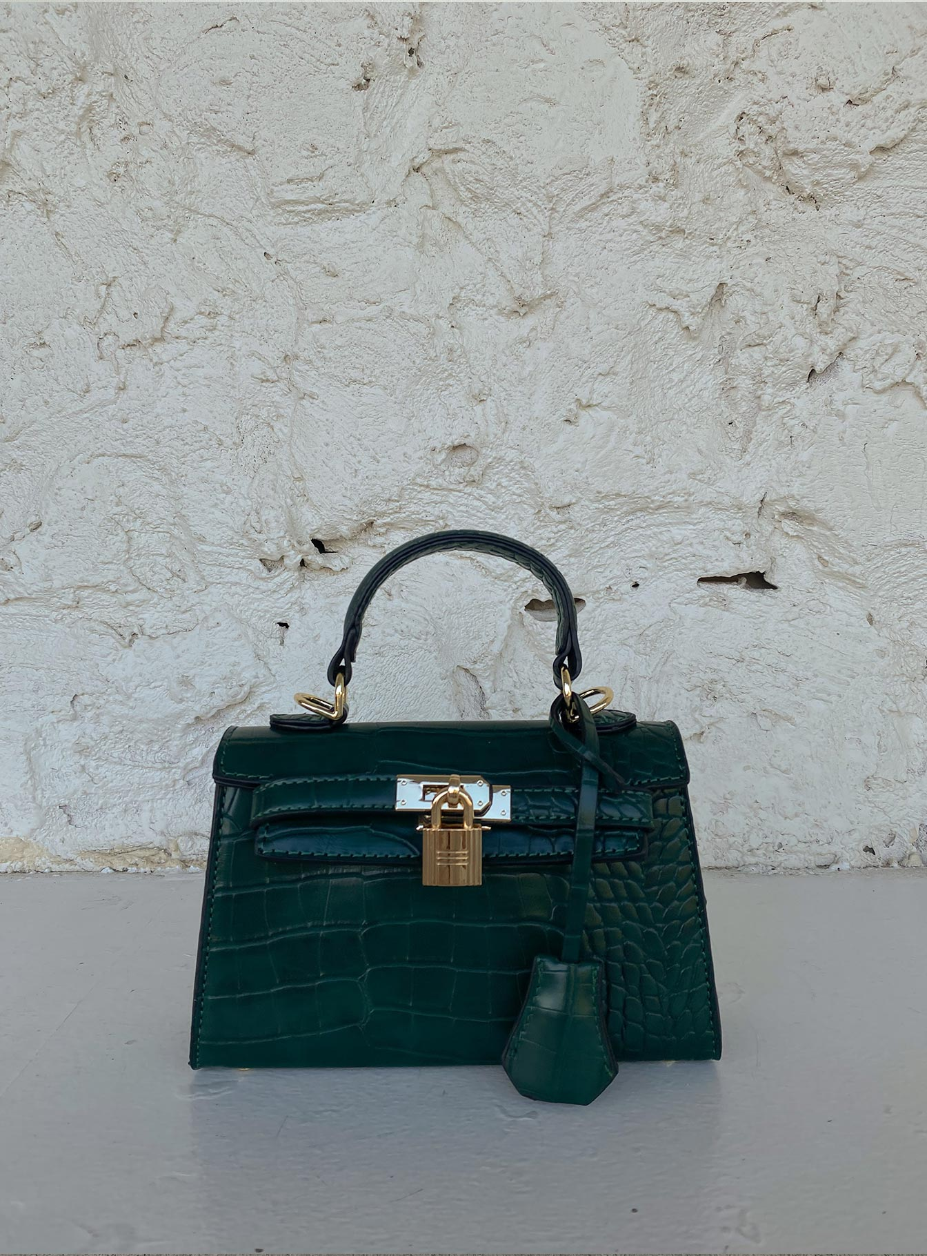 Peta & Jain Hedi Mini Top Handle Bag Green Croc