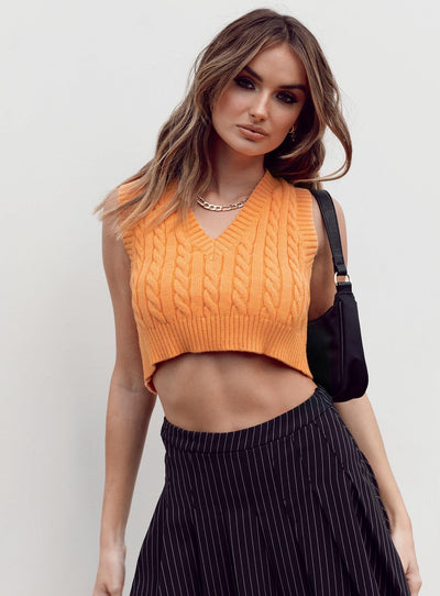 Sydney Cropped Sweater Vest Orange
