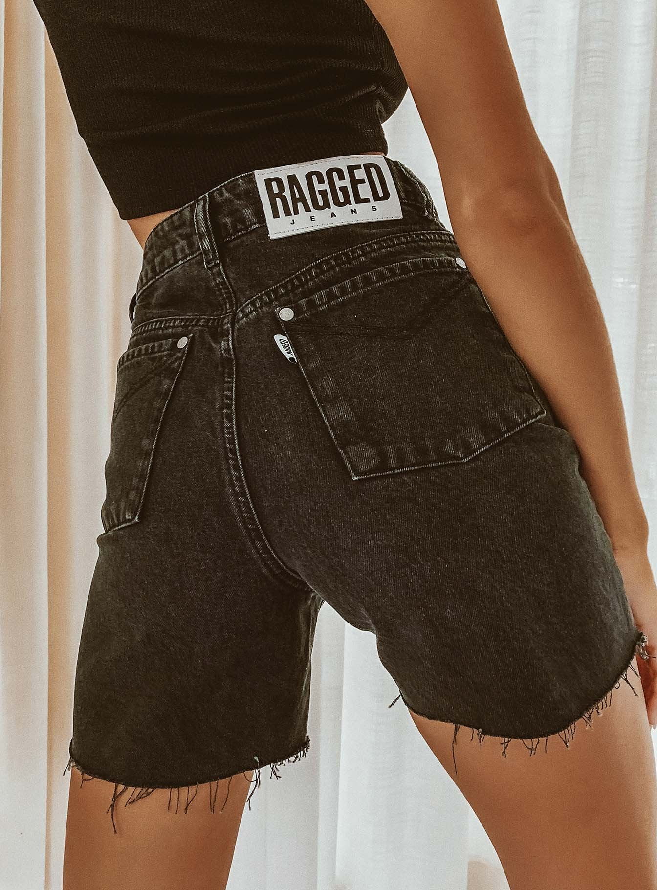 The Ragged Priest Denim Cut Off Mom Shorts Charcoal