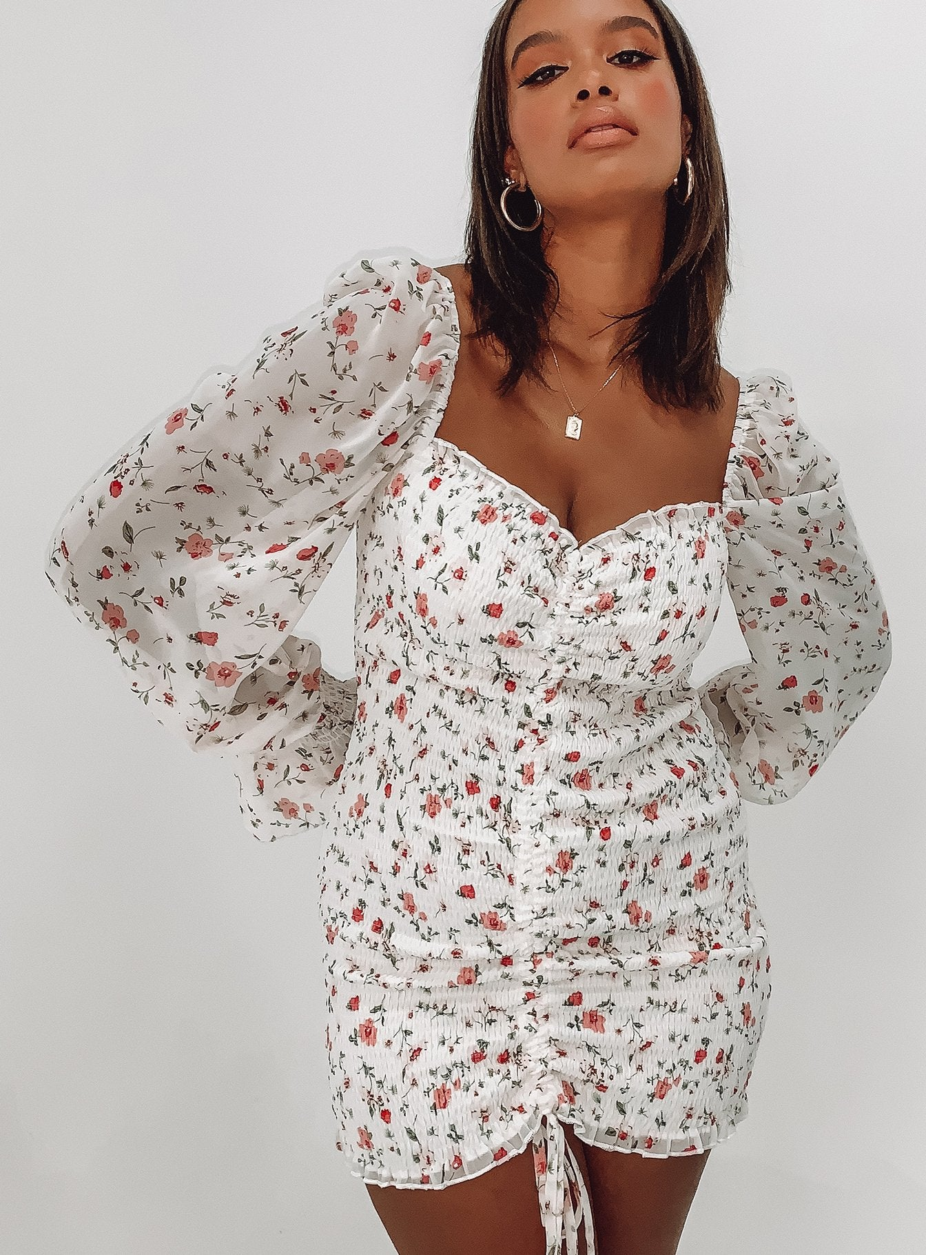 Wild Flowers Mini Dress White