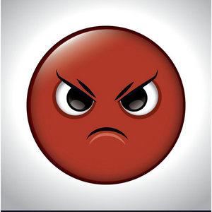 A cartoon face drawn as a red circle that shows it is angry by having the eyebrows slanted down and the mouth showing a frown.