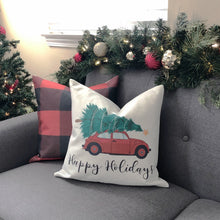 "Load image into Gallery viewer, Dark Grey ""Happy Holidays"" with Car & Tree Pillow Cover"