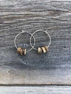 Hoops With Coconut Shell Beads 1 1/4