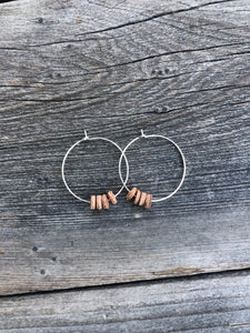 Hoops with leather circles 1 1/4""