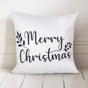 "Dark Grey ""Merry Christmas"" Pillow Cover"