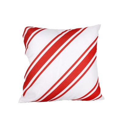 Muted Red Candy Cane Striped Pillow Cover