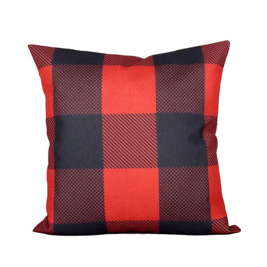 Muted Red & Dark Grey Plaid Pillow Cover