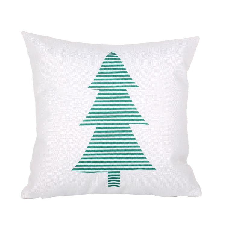 Green Stripes Christmas Tree Pillow Cover