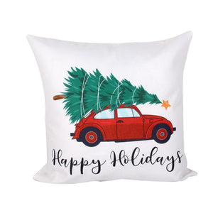"Dark Grey ""Happy Holidays"" with Car & Tree Pillow Cover"