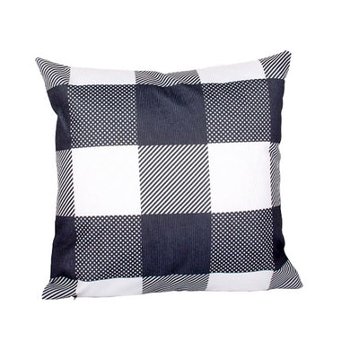 White & Dark Grey Plaid Pillow Cover