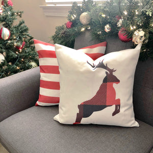 Deer Muted Red & Dark Grey Plaid Pillow Cover