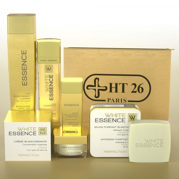 HT26 WHITE ESSENCE - KIT Deluxe Safe Lightening & hyperpigmentation, Lightens spots Body Lotion - HT26.CA : Scientists Devoted to Black Beauty