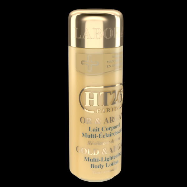 HT26 PARIS - Deluxe Lightening Body Lotion Gold & Argan-Gamme de luxe, qualité, réparatrice et éclaircissante. - HT26.CA : Scientists Devoted to Black Beauty