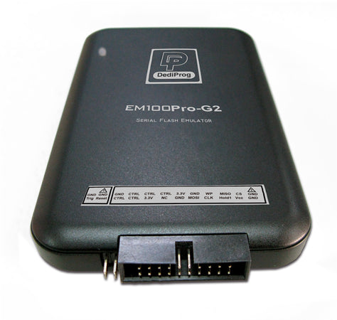 Dediprog EM100Pro G2, Em100Pro G2-EU. EM100Pro is DediProg Serial Flash Emulator based on RAM memory in order to offer the best update performances. This advanced tool has been designed in closEM100Pro-G2 is DediProg SPI NOR Flash emulator integrated high-speed DRAM memory to offer the best code updating performances. This advanced tool has been designed in close cooperation with the SPI NOR Flash suppliers to emulator the behavior of all the SPI NOR Flash on the market and also the next generation SPI NOR Flash.