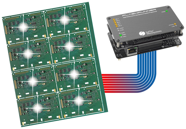 SMH FlashRunner 8 Multiplexed Channels, FR01M01. This Professional High-performance standalone FlashRunner provides connections for programming up to eight ISP sites thanks to the built-in ISP lines multiplexing makes it ideal for Manufacturing Mass Programming.