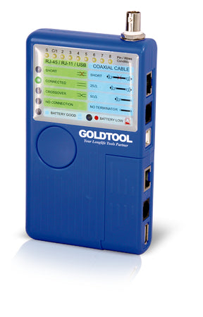 Goldtool TCT-180, TCT-180. TCT-180 can be used to verify the condition of cable, both before and after their installation. The passive module can be separated for testing the remote end of installed network cabling. One button testing offers easy operation and multiple LEDs give clear testing results. The unit will also automatically shut off when not in use.