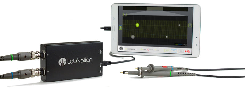 LabNation SmartScope, smartscope. New generation mobile oscilloscope. Runs on all major platforms including Windows, OS X, Linux, Android and iOS. Aluminium casing complete with digital and analog probes. Runs on tablets, laptops and smartphones.
